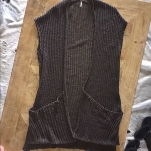 Free People Gray Sweater Maxi Vest. Size: Medium